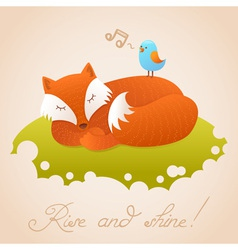 Cute baby card with sleeping red fox vector
