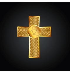 Golden celtic cross vector image