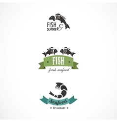 Fish icons and elements vector image