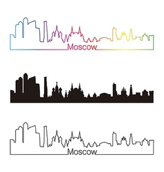 Moscow skyline linear style with rainbow vector