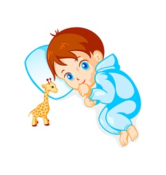 Baby boy and giraffe toy vector