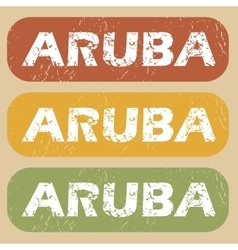 Vintage aruba stamp set vector