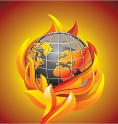 Burning globe - apocalypse vector