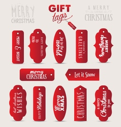 Calligraphic christmas gift tags in vintage style vector