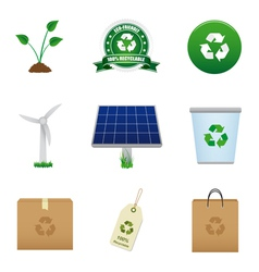 Renewable energy and recycle icons vector