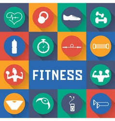 Flat design icons of fitness elements vector