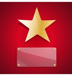 Golden star and glass blank vector