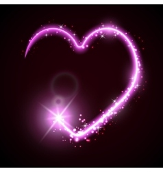 Neon heart on the dark vector