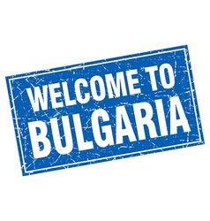 Bulgaria blue square grunge welcome to stamp vector