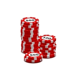Stack of red gambling chips on white vector