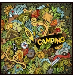 Cartoon hand-drawn doodles camp vector