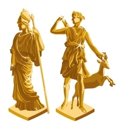 Wo greek golden statues of warrior and shepherd vector