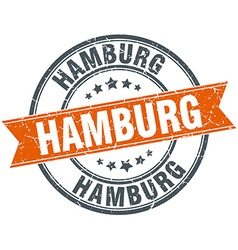 Hamburg red round grunge vintage ribbon stamp vector
