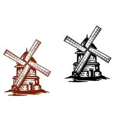 Ancient windmills vector image