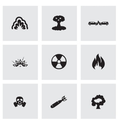 black disaster icons set vector image