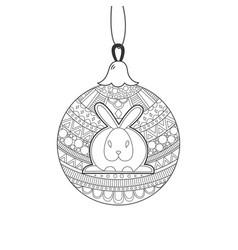 Black line christmas ball with rabbit vector