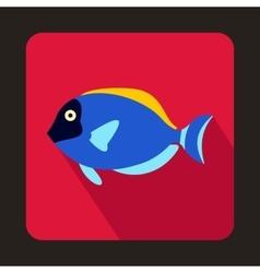 Blue surgeon fish icon flat style vector