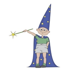 Boy with magic wand vector image