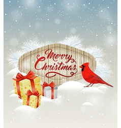 Christmas background with gifts and bird vector