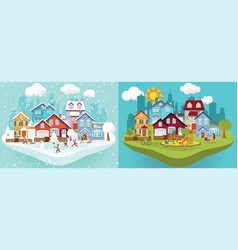 city in winter and summer vector image