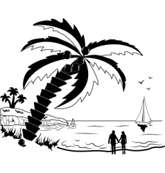 Couple at tropical beach with palm trees vector