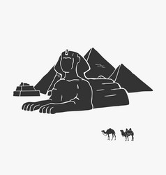 egyptian pyramids and camels vector image