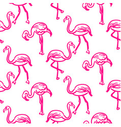 Flamingo hot pink outline sketch seamless vector