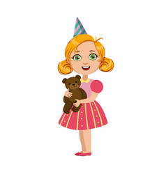 Girl with teddy bear part of kids at the birthday vector