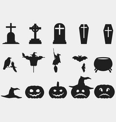 halloween set of symbols witch hat pumpkin vector image vector image