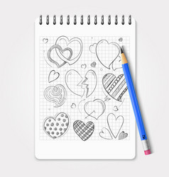 hand drawn hearts set with realistic pencil and vector image vector image