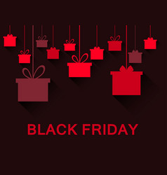 hanging gift boxes in red black friday festive vector image