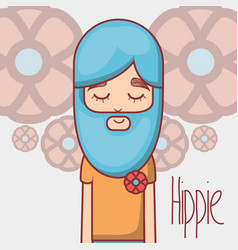 Hippie with meditation with long beard vector