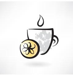 lemon tea grunge icon vector image vector image