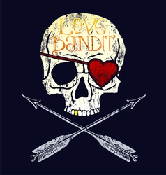 Love bandit skull vector