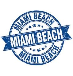Miami beach blue round grunge vintage ribbon stamp vector