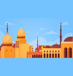 muslim cityscape nabawi mosque building religion vector image