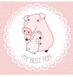 My best mom background with cute pigs vector image vector image