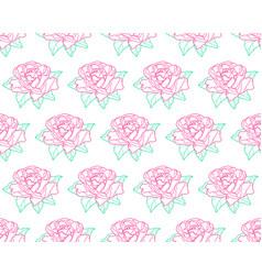 Outline rose flower pattern vector