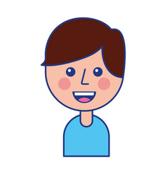 Portrait of happy young boy smiling cartoon vector
