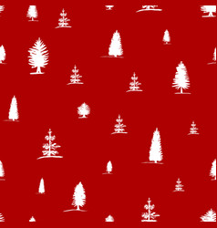 Seamless pattern from sketch white trees vector