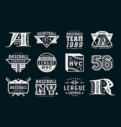Set of emblems in sport style vector
