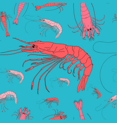 Shrimp seamless background seafood pattern vector