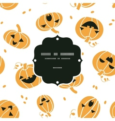 Smiling halloween pumpkins frame seamless pattern vector
