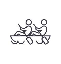 teamteamworkcanoe line icon sign vector image vector image