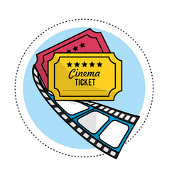 Tickets with filmstrip to short film scene vector