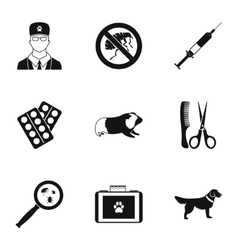 Treatment of animals icons set simple style vector