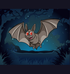 Wild bat flying in jungle at night vector
