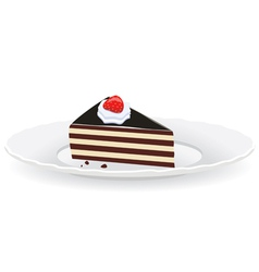 Cake slice on a plate vector