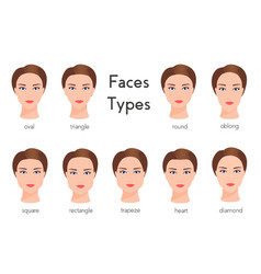 Set of different woman face types female face vector