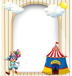 An empty template with a circus tent and a male vector